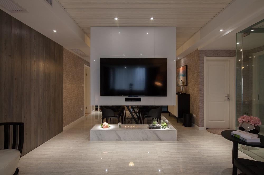 现代简约四居室电视背景墙装修效果图