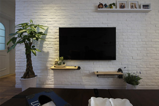 75平混搭风格电视背景墙装修效果图