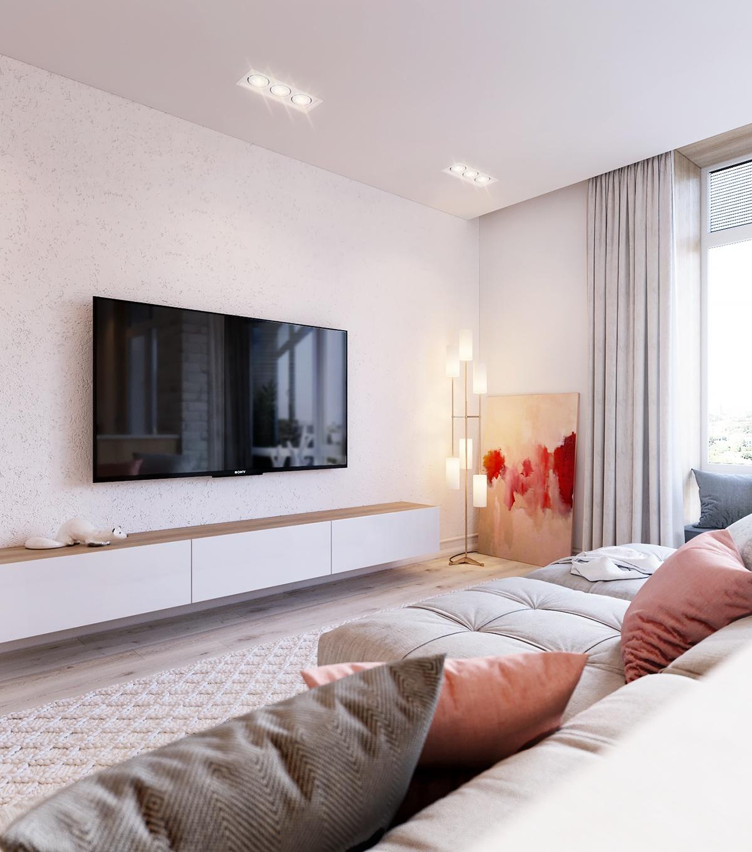 简约时尚公寓电视背景墙装修效果图