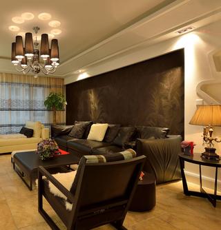 三居室现代混搭沙发背景墙装修效果图