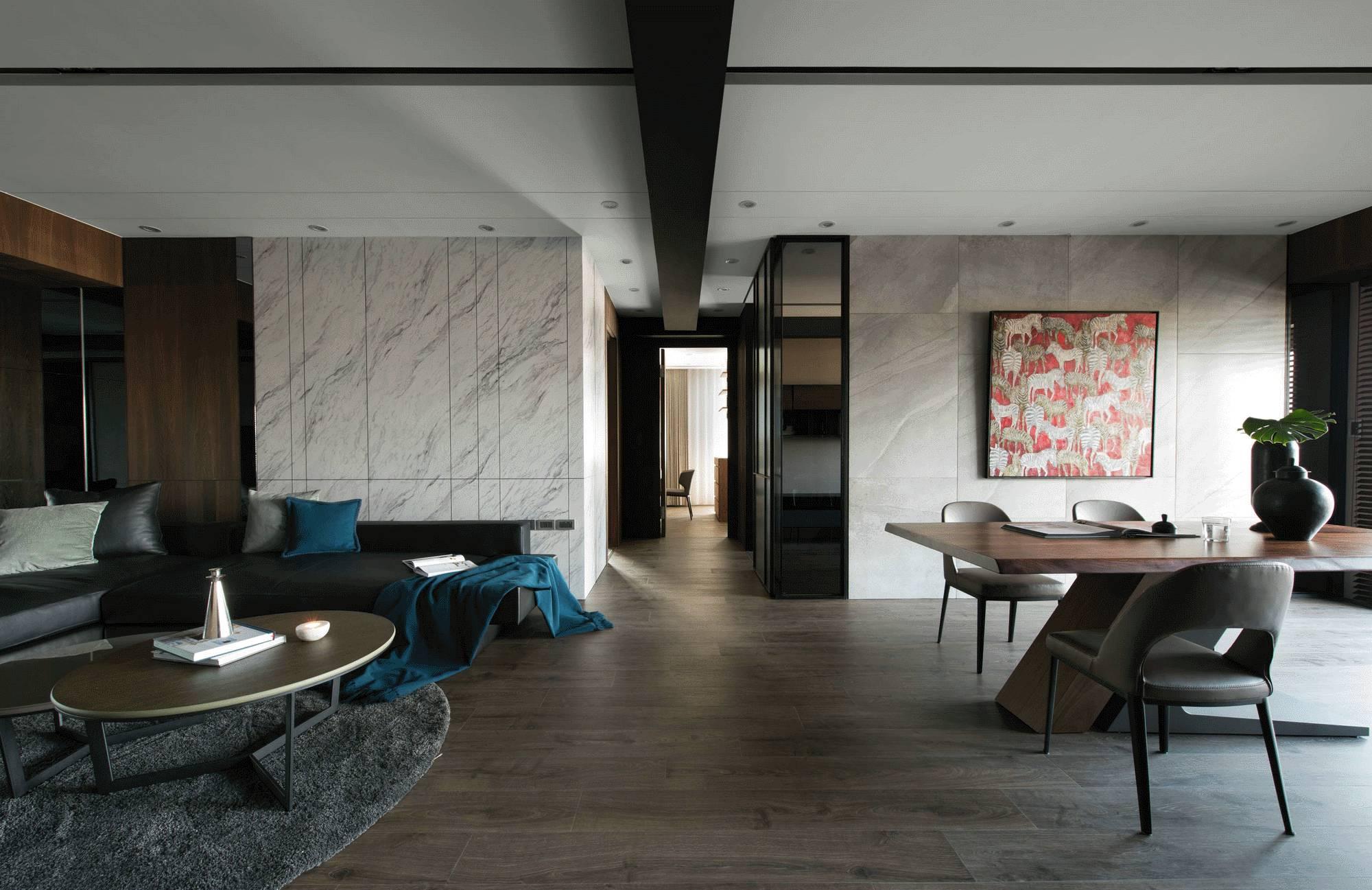 现代风三居客餐厅过道装修设计效果图
