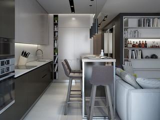 现代公寓厨房装修设计效果图