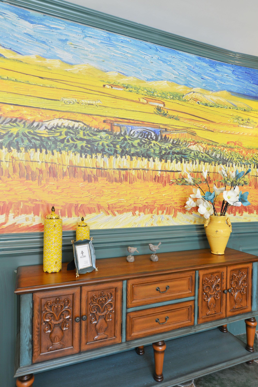 美式混搭别墅油画墙装修效果图