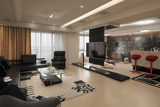 大户型现代混搭客厅装修效果图