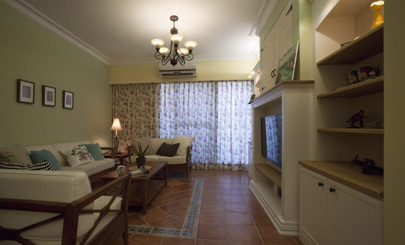 乡村美式风格三居客厅装修效果图