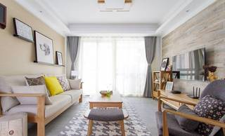 105平日式风格客厅装修效果图