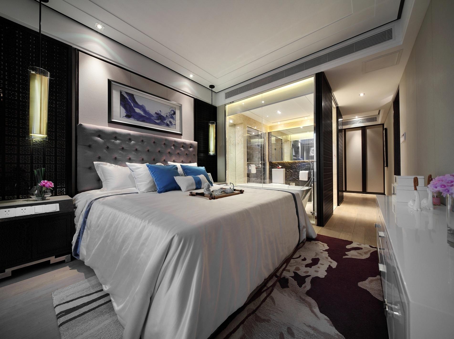 120平现代中式卧室装修效果图