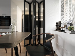 90㎡现代简约风厨房折叠门装修效果图