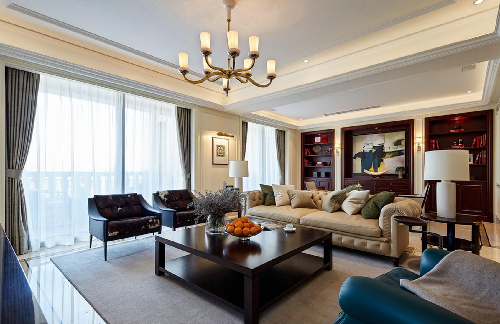 大户型复式现代美式客厅装修效果图