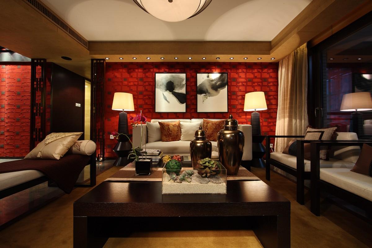 160平新中式四居沙发背景墙装修效果图