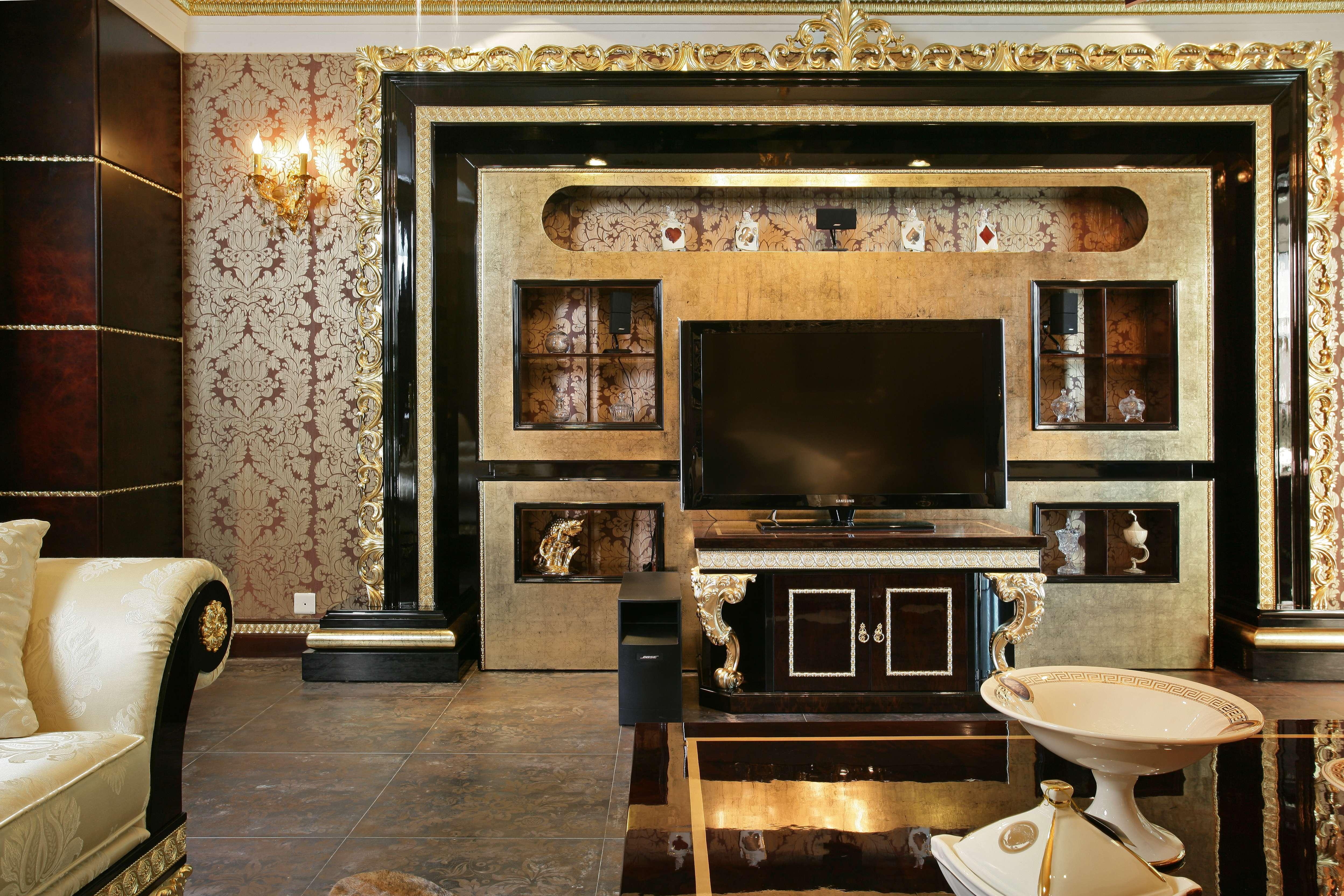 奢华欧式风格别墅电视背景墙装修效果图