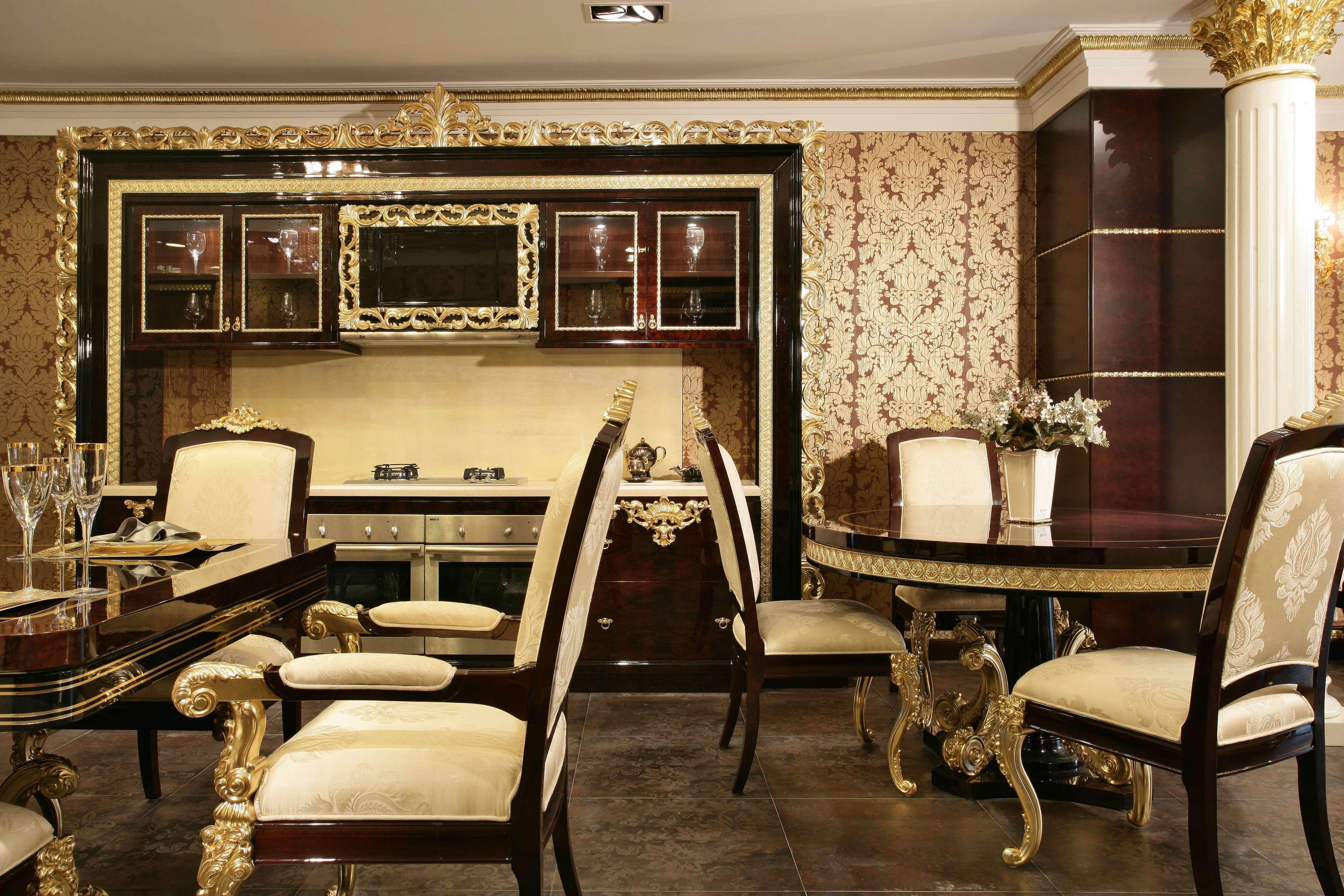 奢华欧式风格别墅厨房装修效果图