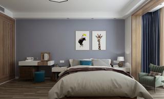 120平现代简约三居卧室背景墙装修效果图