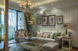 三居室田园风格沙发背景墙装修效果图