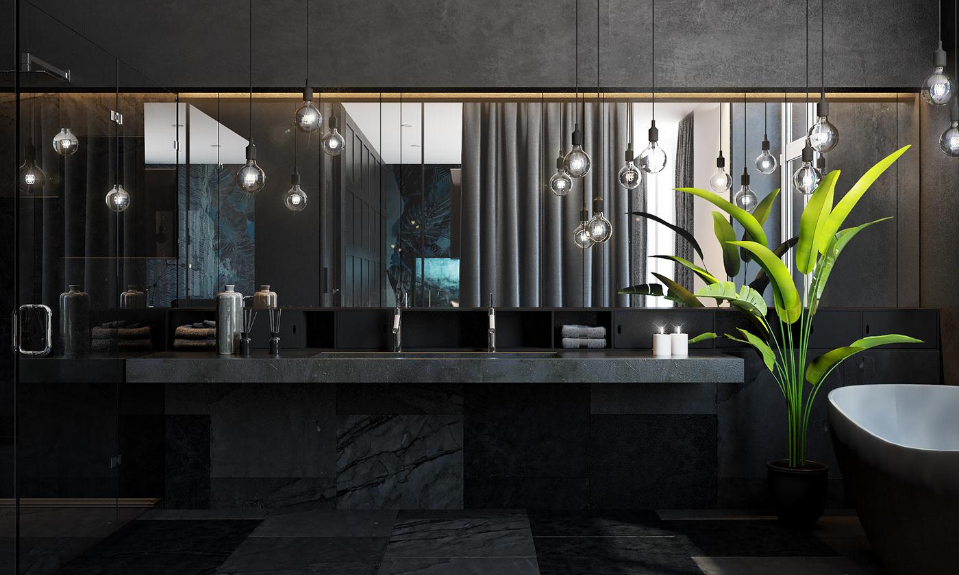 黑色系现代公寓卫生间装修效果图