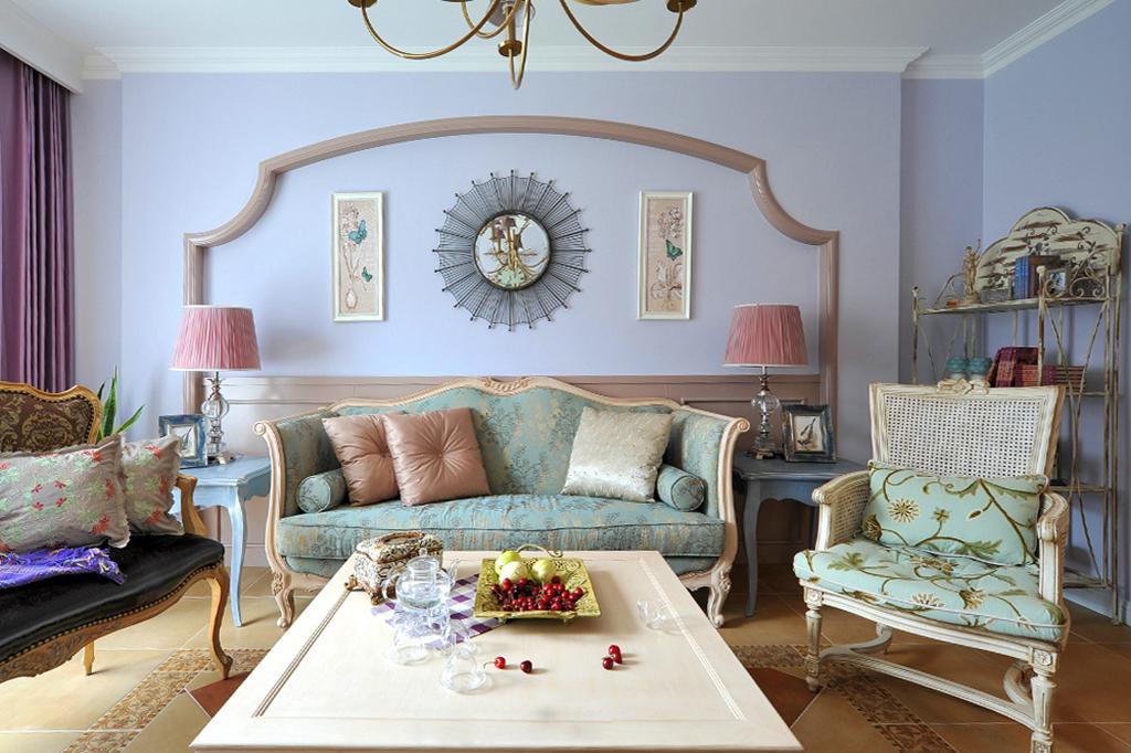 三居室混搭风格沙发背景墙装修效果图