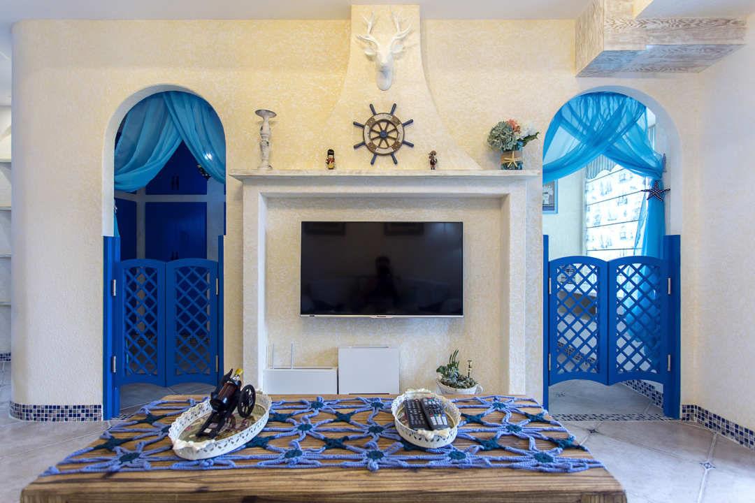 65㎡地中海风格电视背景墙装修效果图