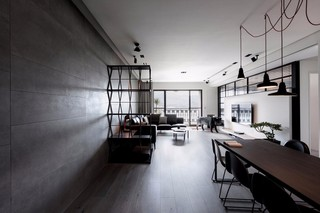 136㎡轻工业风公寓客餐厅装修效果图