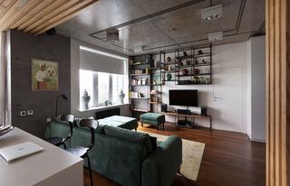 80㎡工业风公寓客厅装修效果图