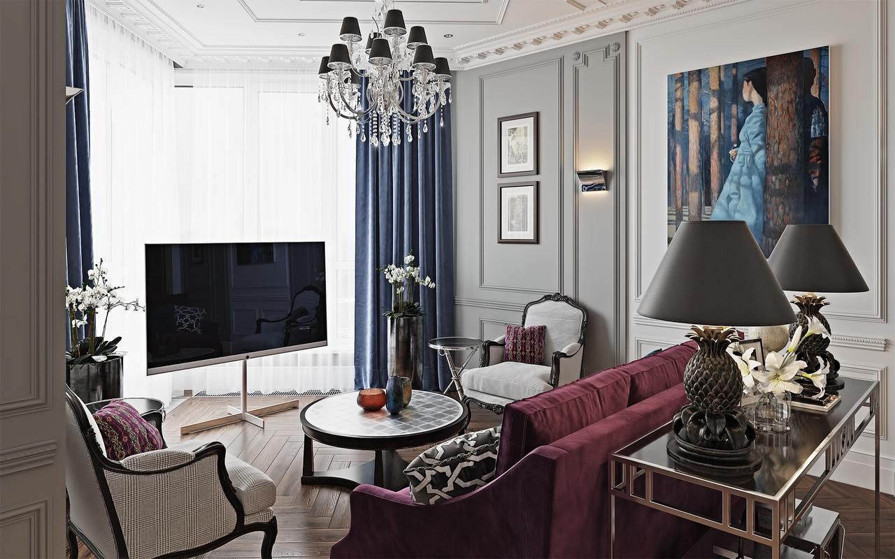 法式新古典风格客厅装修效果图