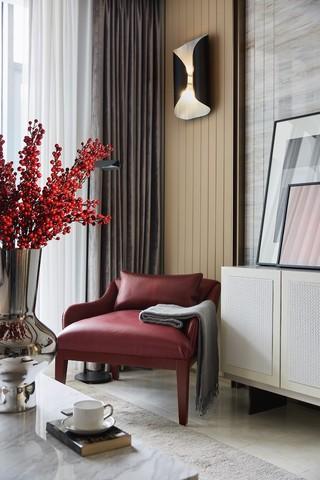 轻奢现代样板房装修客厅休闲一角