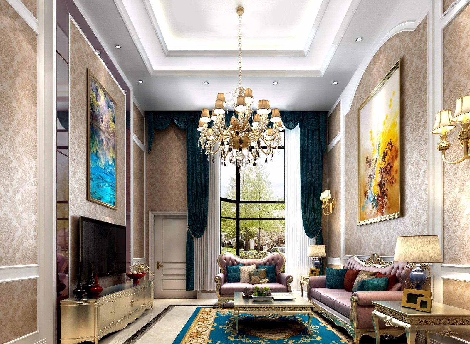 欧式古典别墅客厅装修效果图