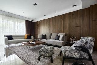 大户型现代简约客厅沙发墙装修效果图