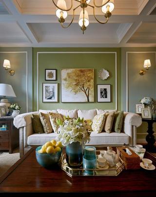 美式风格两居沙发背景墙装修效果图