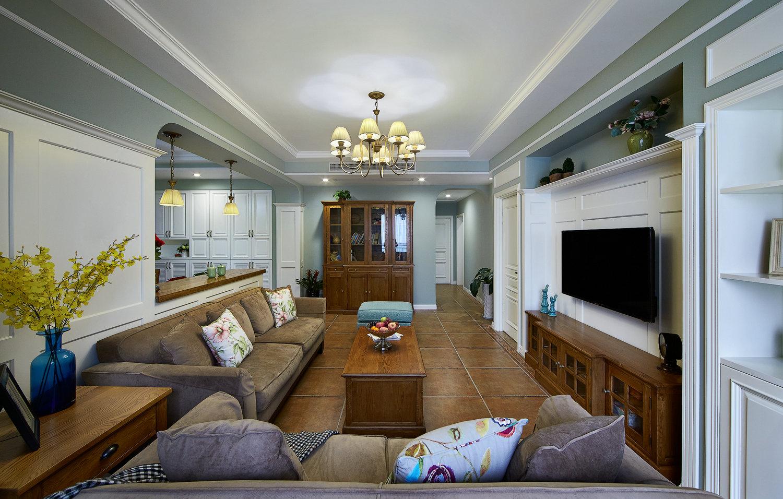 140m²美式风格客厅装修效果图