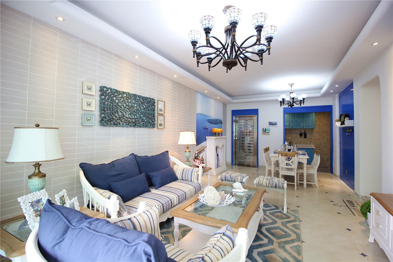 地中海风三居室客餐厅装修效果图