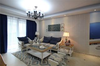 地中海风三居室沙发背景墙装修效果图
