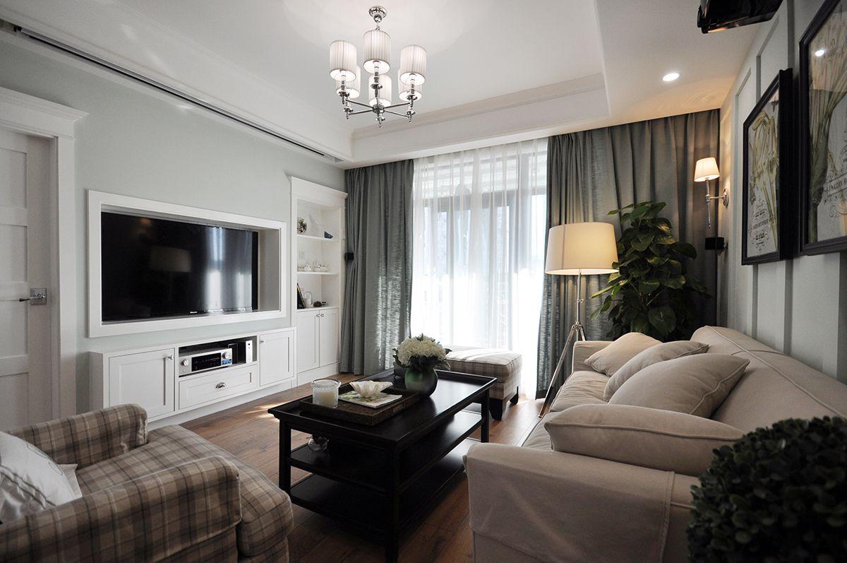 120㎡美式三居客厅电视墙装修效果图
