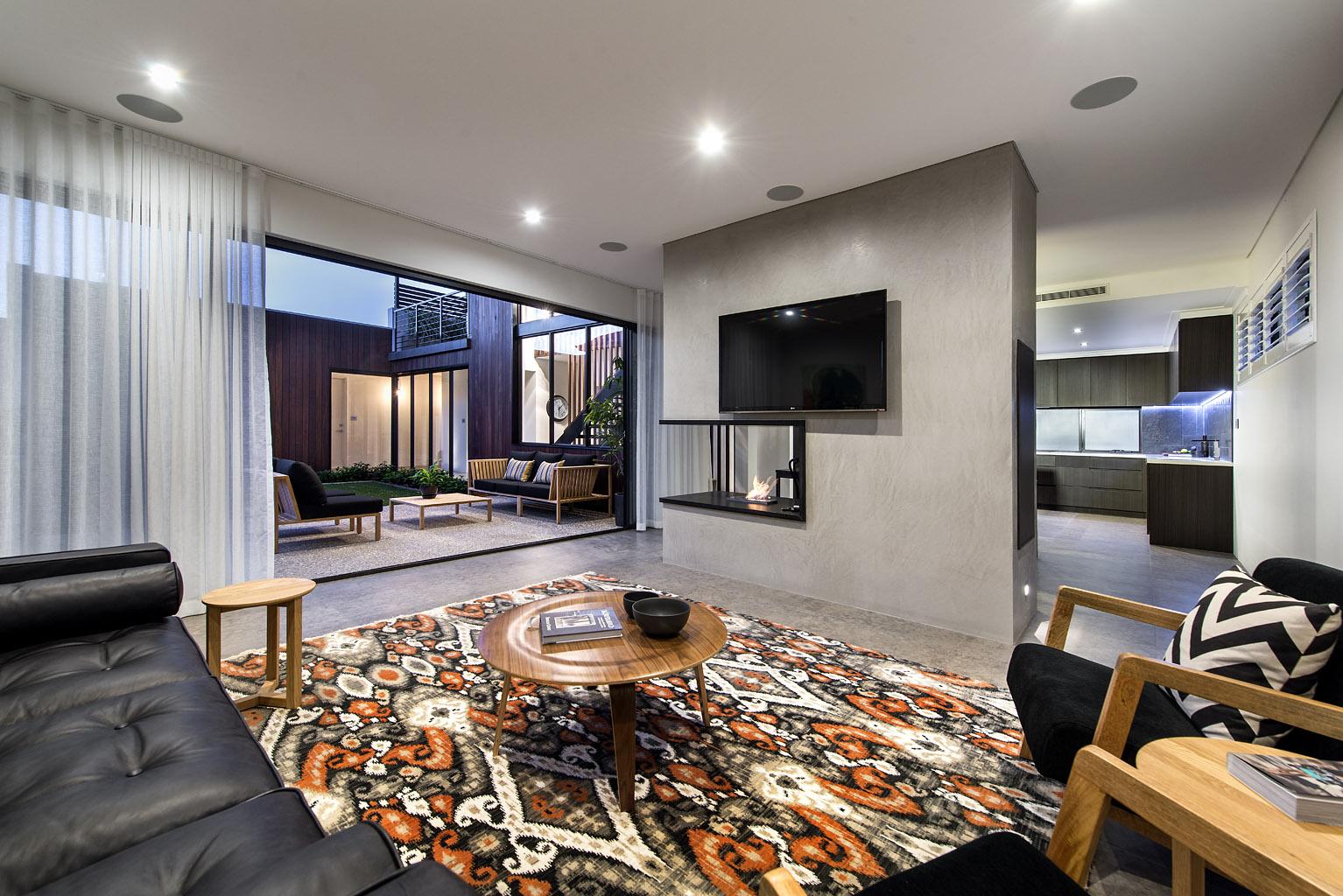 简约现代风别墅客厅电视墙装修效果图