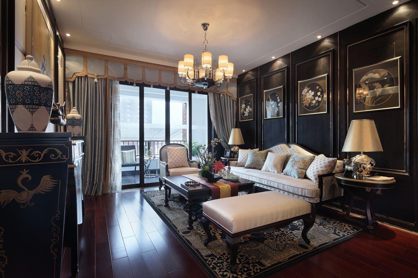 中式古典四居客厅装修效果图