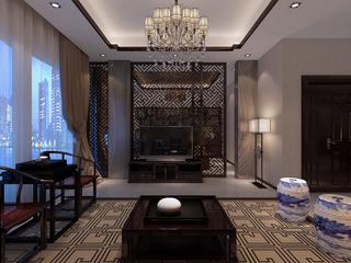 新中式风格客厅电视墙装修效果图