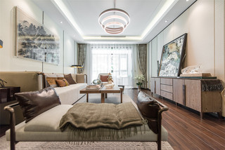 新中式风格三居装修效果图
