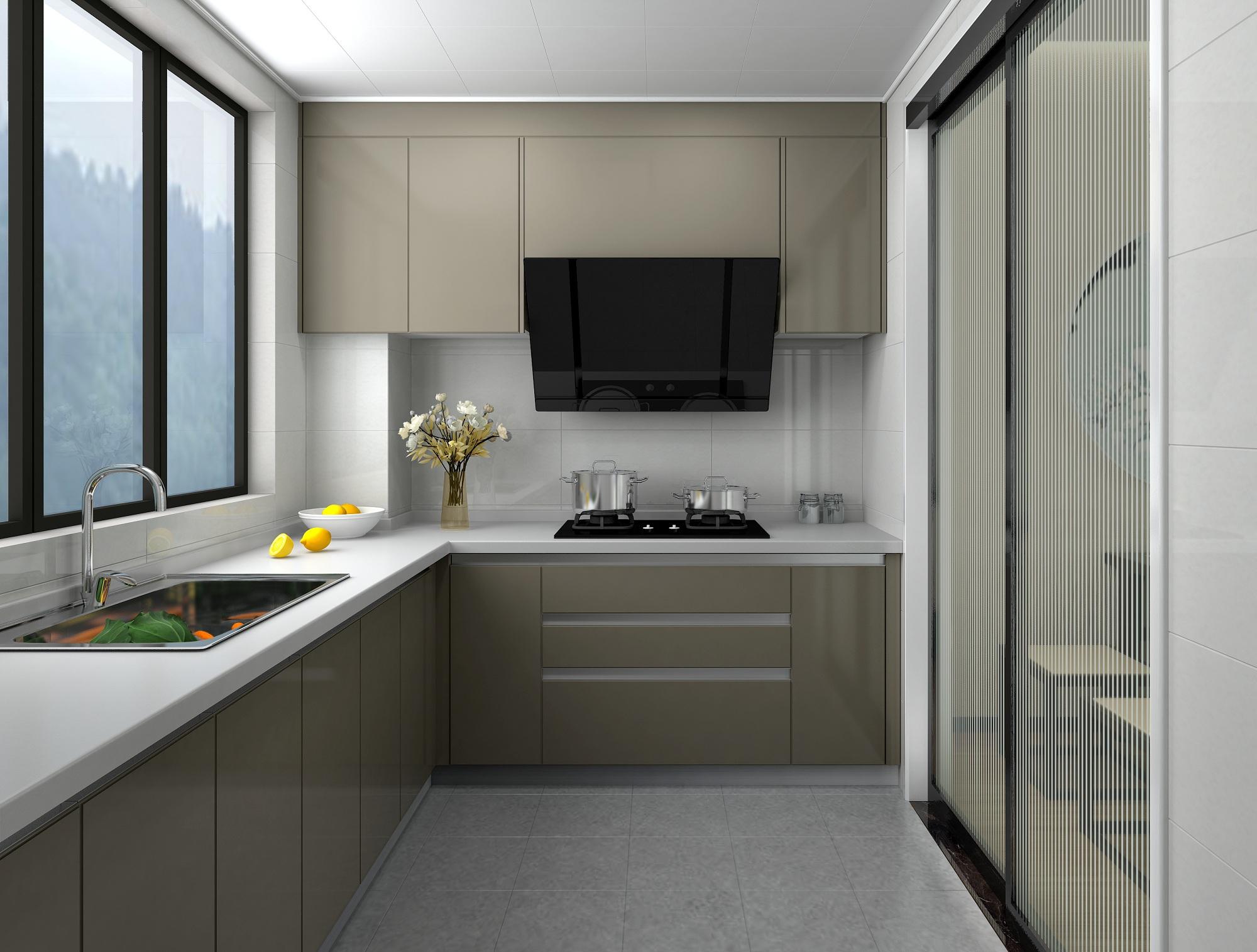 90平新中式装修厨房效果图
