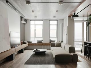 简约两居室公寓装修效果图