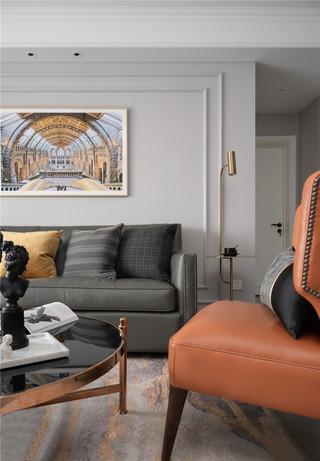 轻奢美式三居沙发背景墙装修效果图
