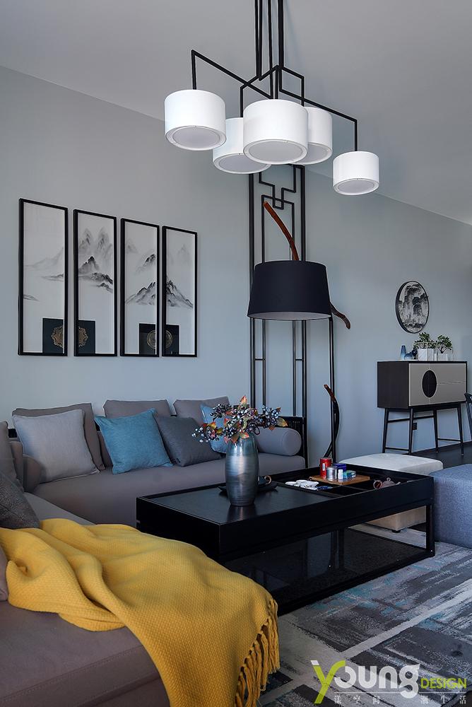 190㎡新中式风格沙发墙装修效果图