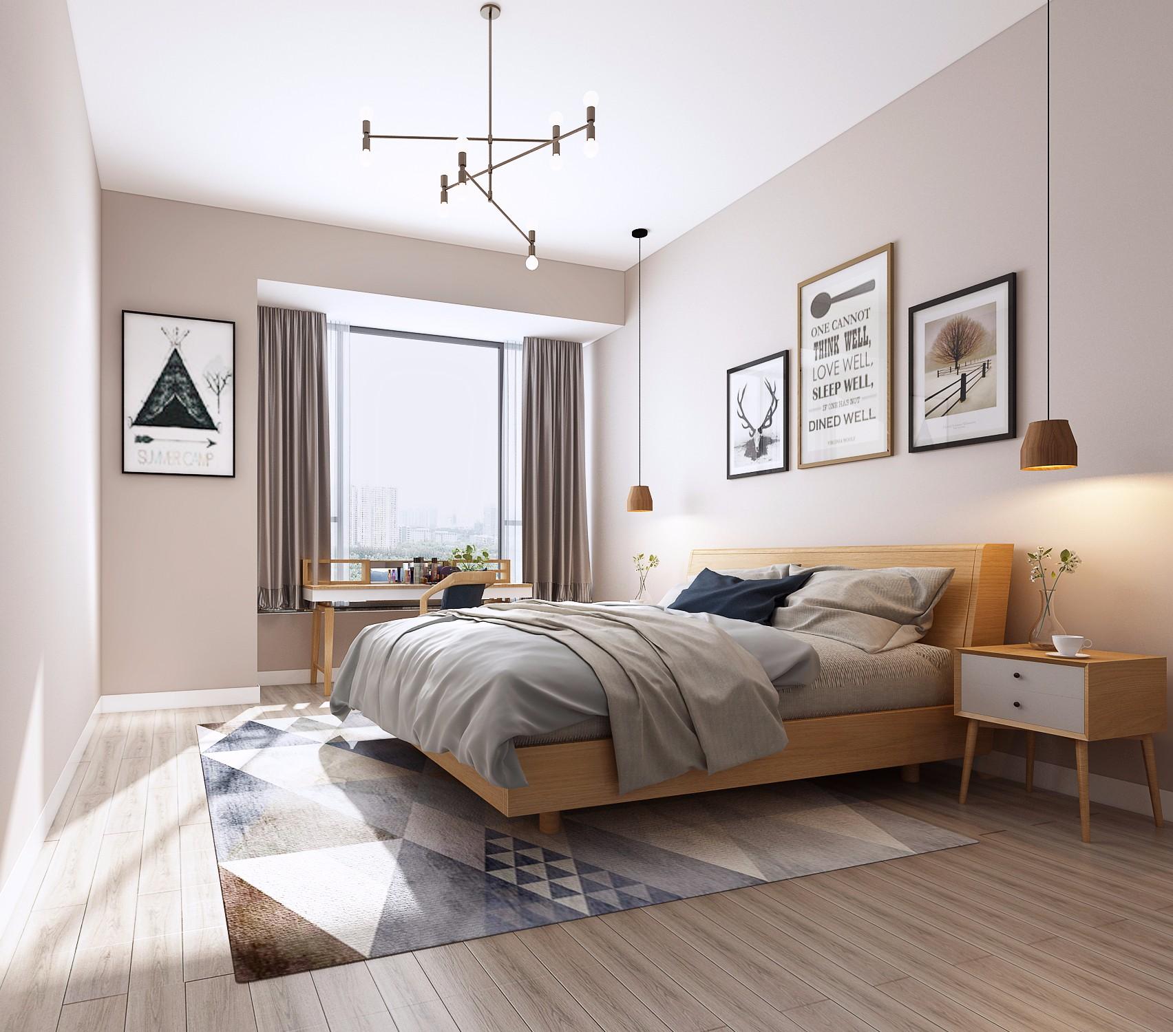 150㎡北欧风卧室装修效果图