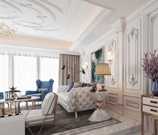 法式风格别墅沙发背景墙装修效果图