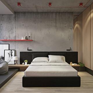 110m²简约工业风卧室装修效果图