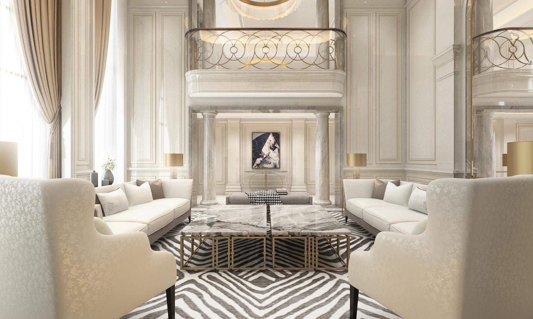 欧式风格别墅客厅装修效果图