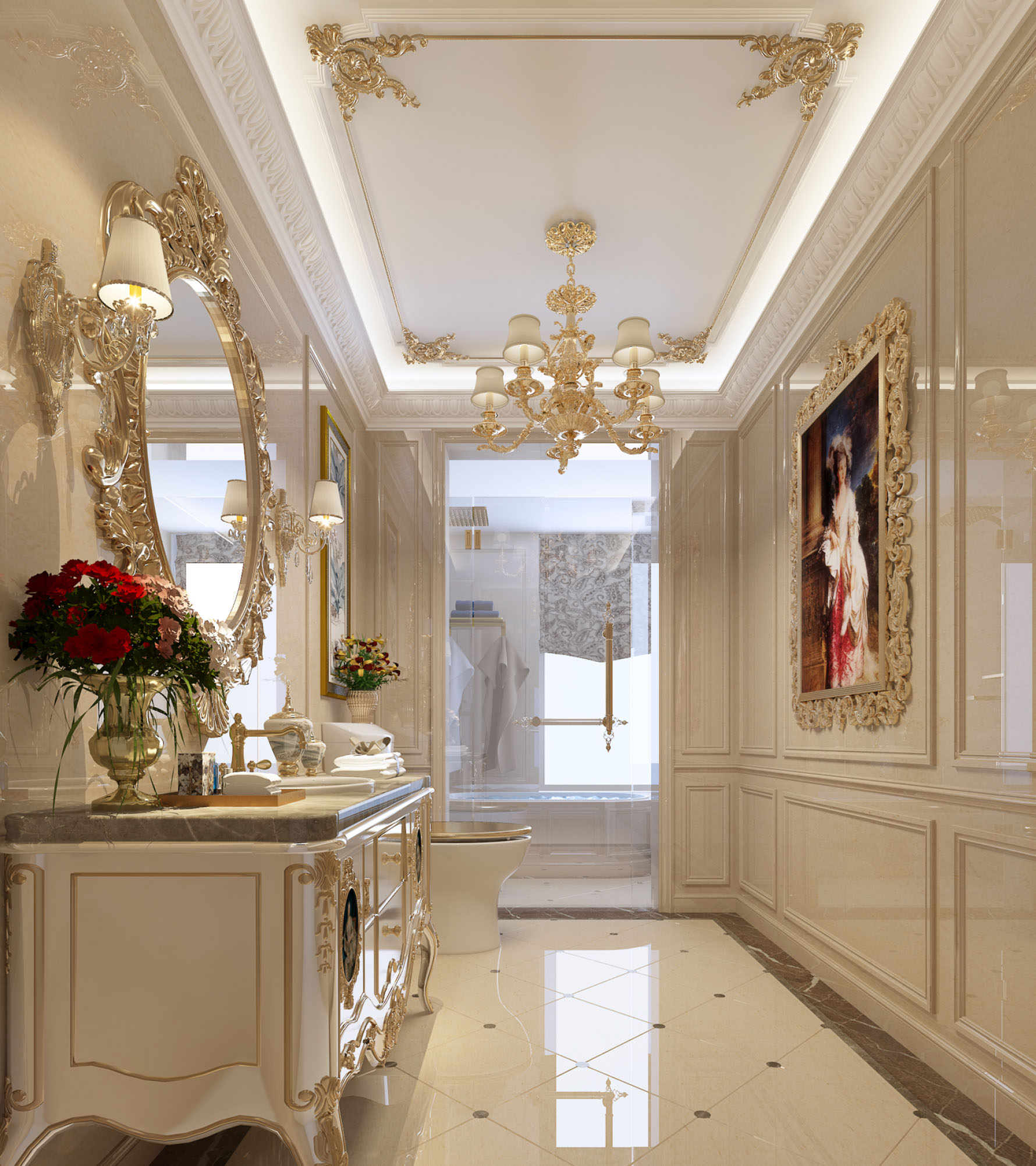 奢华法式别墅卫生间装修效果图