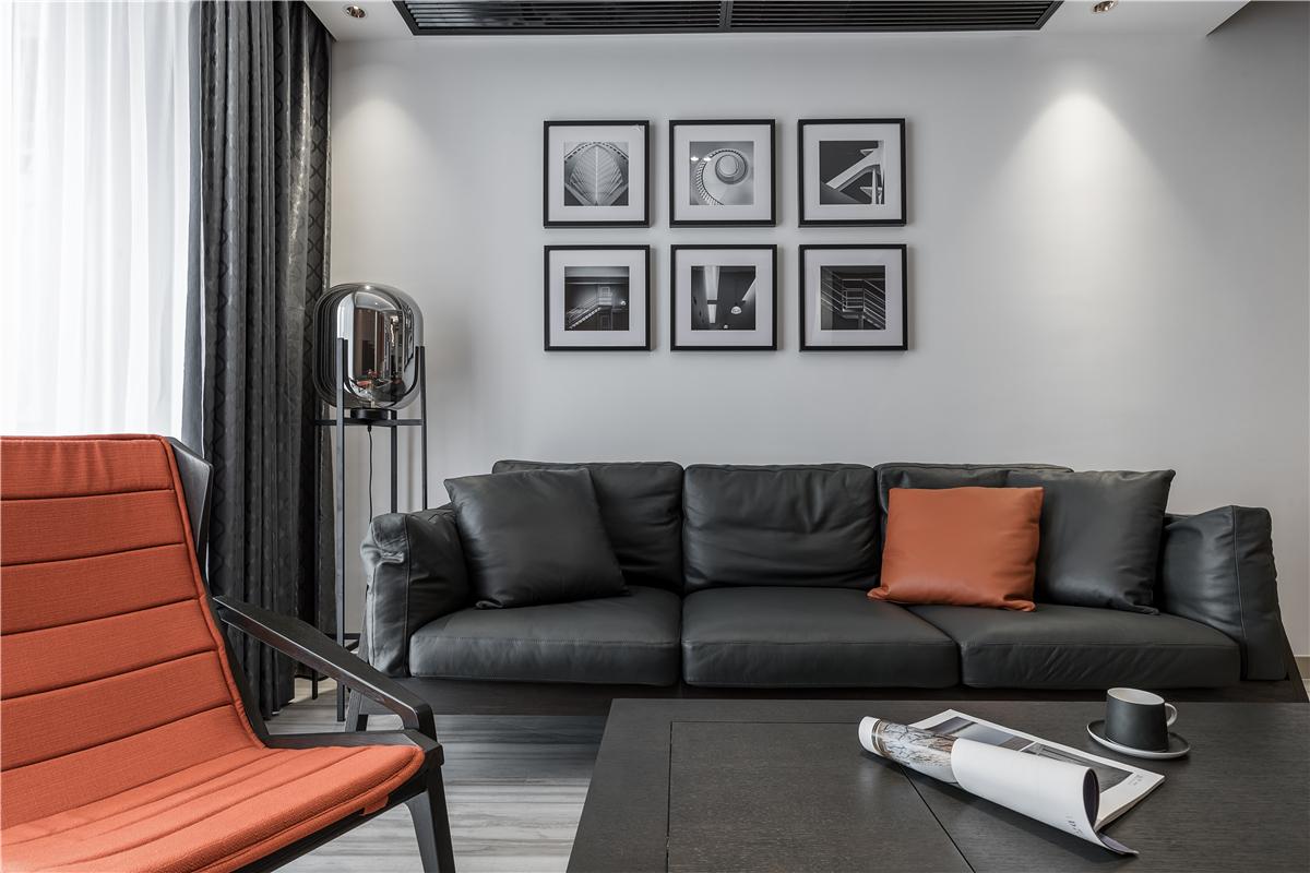 130m²现代简约沙发墙装修效果图