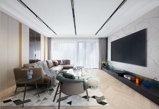150㎡现代轻奢客厅装修效果图