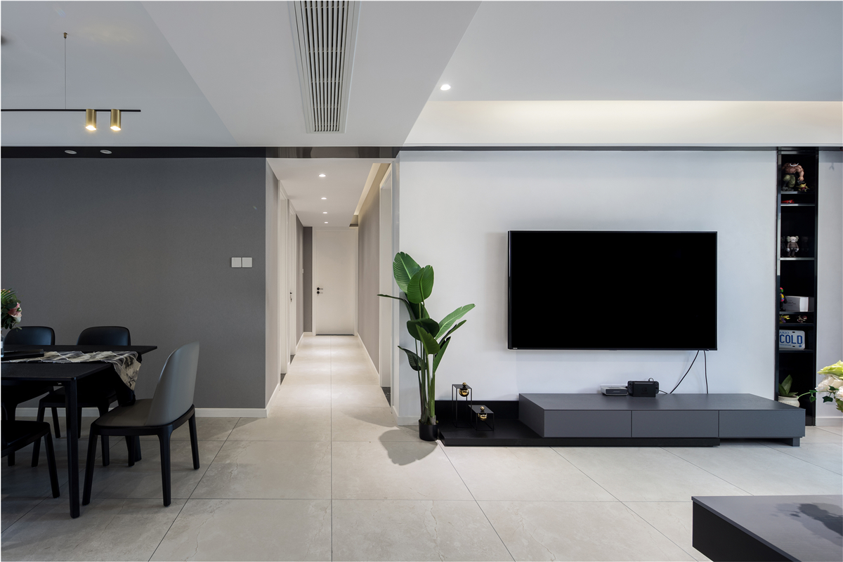 120平现代简约电视墙装修效果图