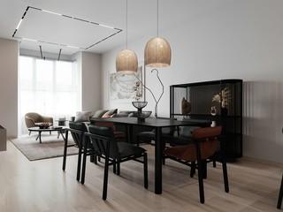 现代简约风格三居室140平米以上设计图