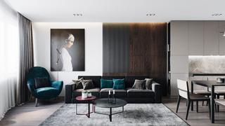 110m²现代风沙发背景墙装修效果图